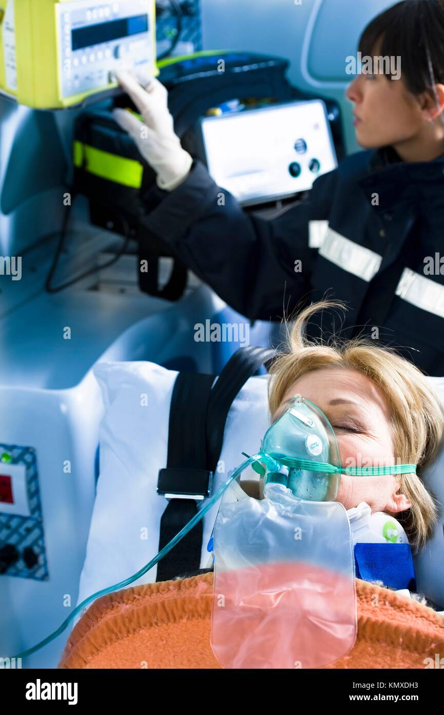 Paramedic With Patient - Stock Image
