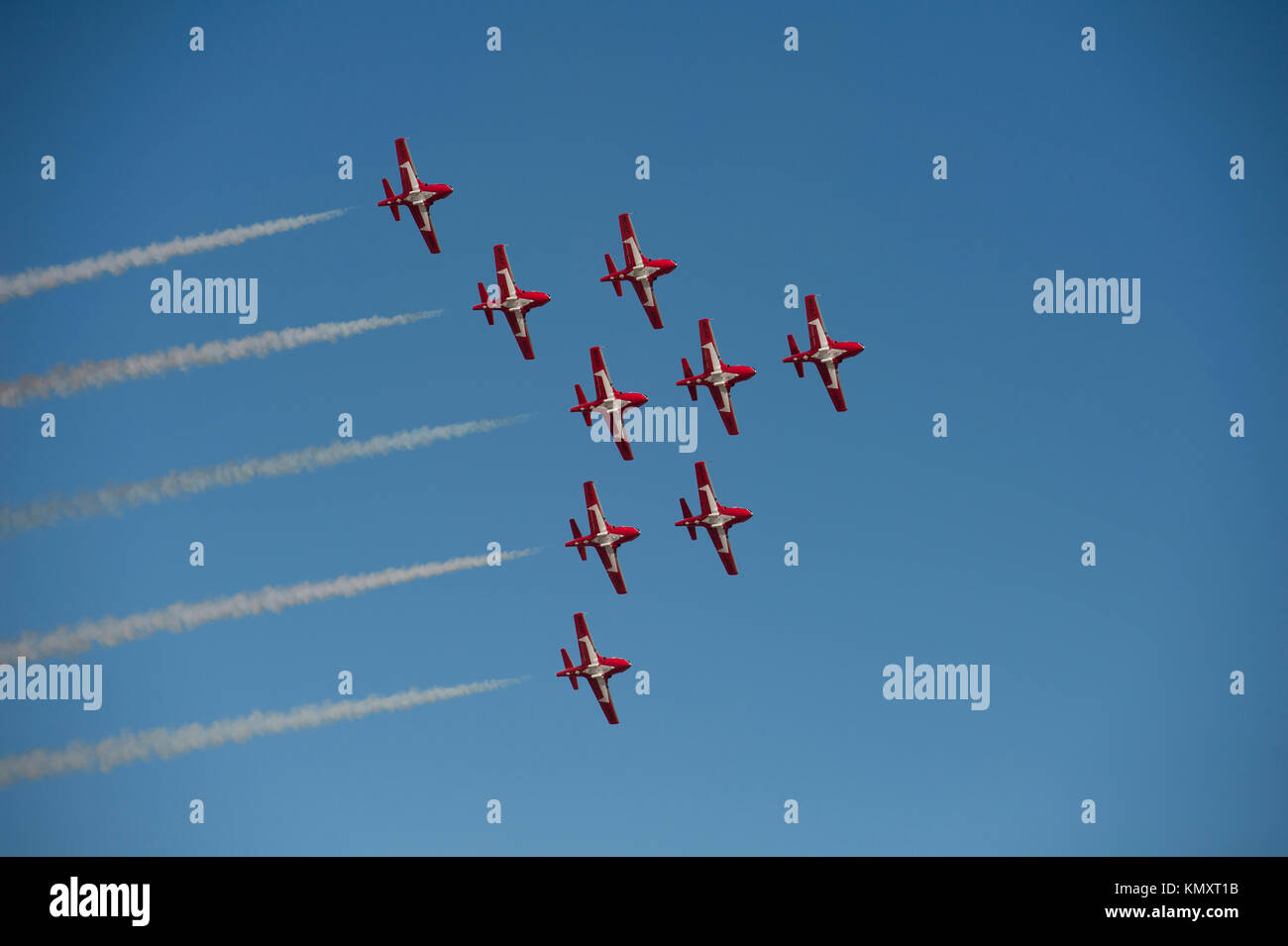 Royal Canadian Snowbirds flying in formation at the 'Gowen Thunder 2017 Airshow' at Gowen Field in Boise - Stock Image