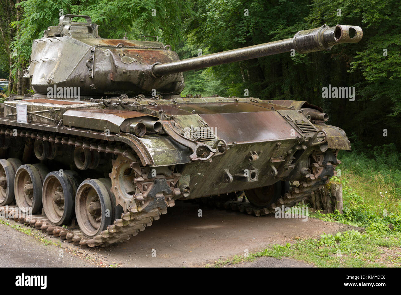 An American M41 Walker Bulldog at the Four-à-Chaux site of the Maginot Line at Lembach, Alsace Stock Photo