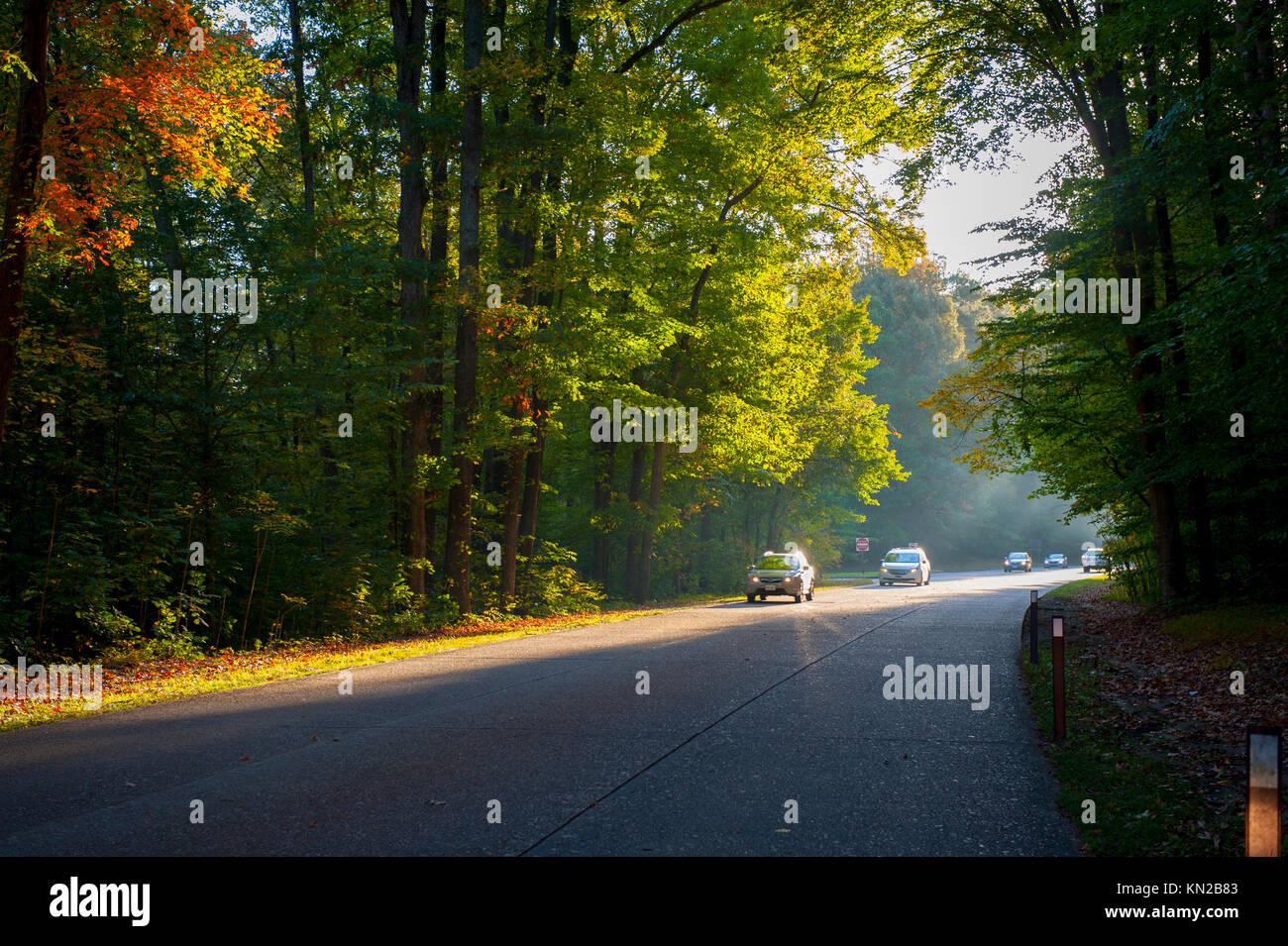 USA Virginia Historic Triangle Colonial Parkway Fall Autumn near Williamsburg VA Stock Photo