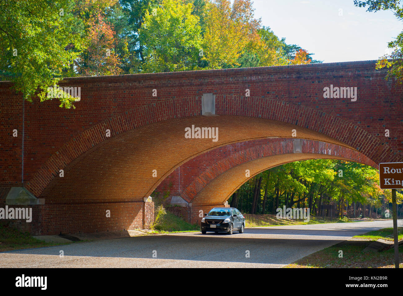 USA Virginia Historic Triangle Colonial Parkway Fall Autumn near Williamsburg VA double brick bridges Stock Photo