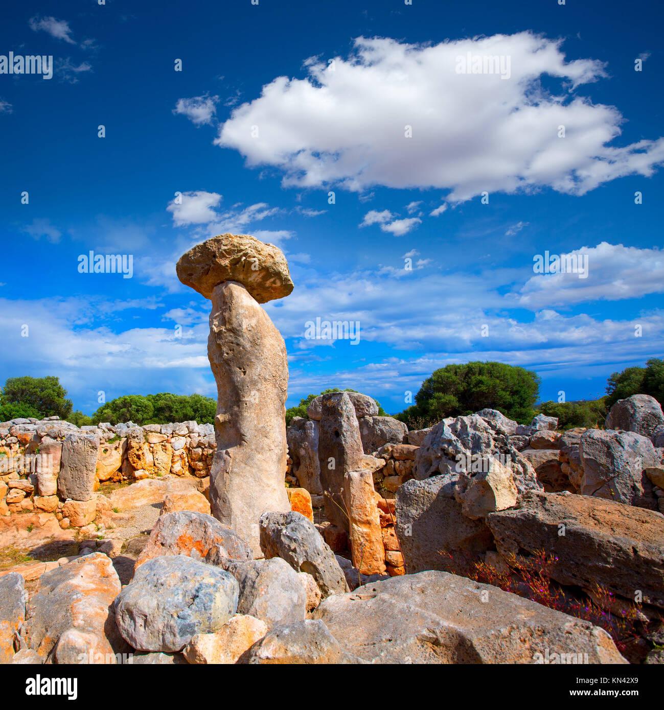 Taules of Menorca Torre de en Gaumes Galmes at Balearic islands of Spain. - Stock Image