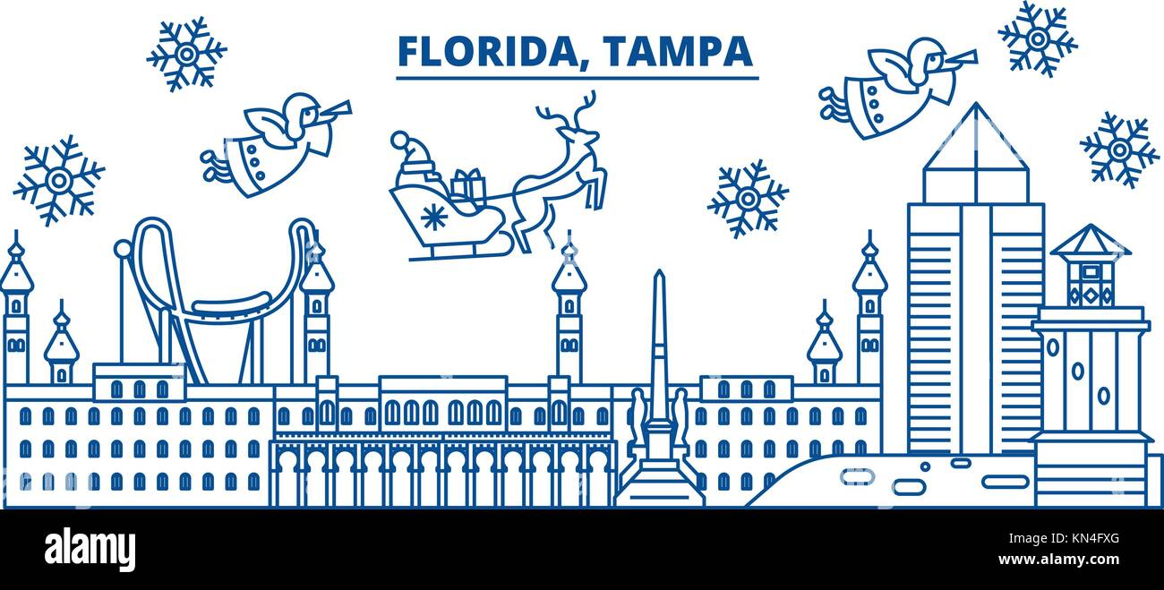 usa florida tampa winter city skyline merry christmas and happy new year decorated banner winter greeting card with snow and santa claus