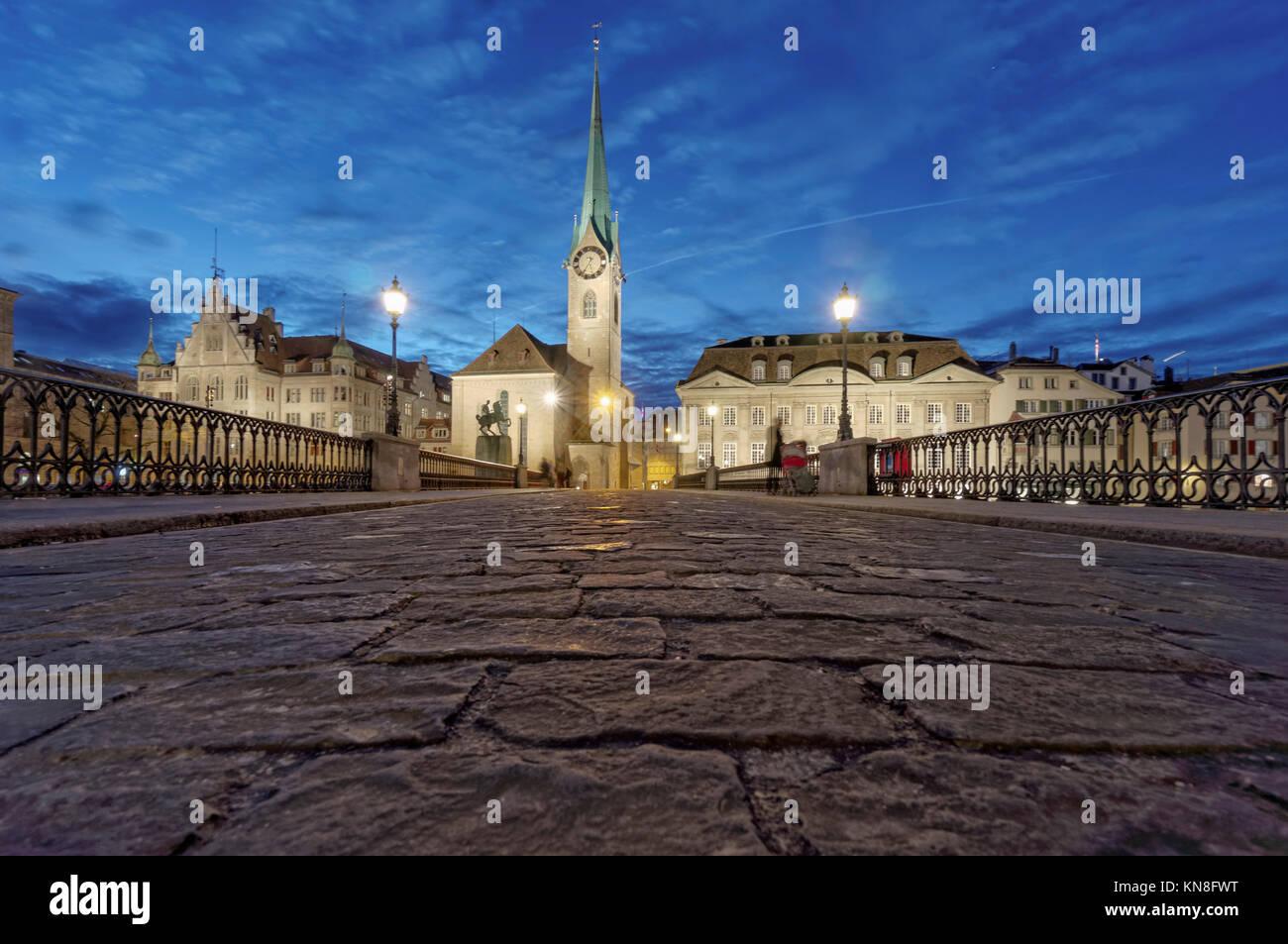 Munster Bridge, Fraumunster, Cobble Stone Pavement, Zurich, Switzerland - Stock Image