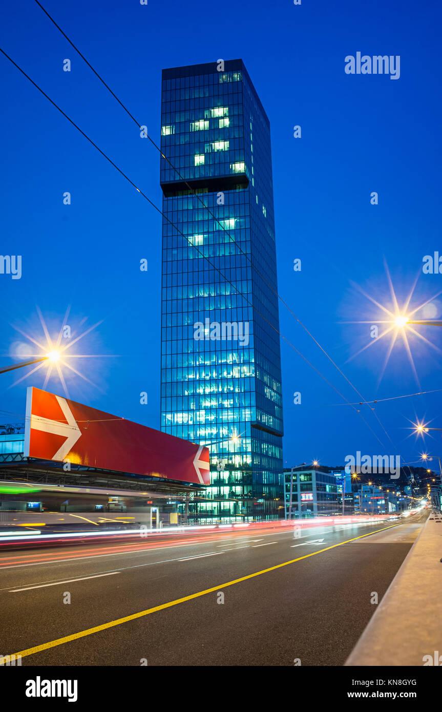 Prime Tower, Europe bridge, Kreis 5, Zurich, Switzerland - Stock Image