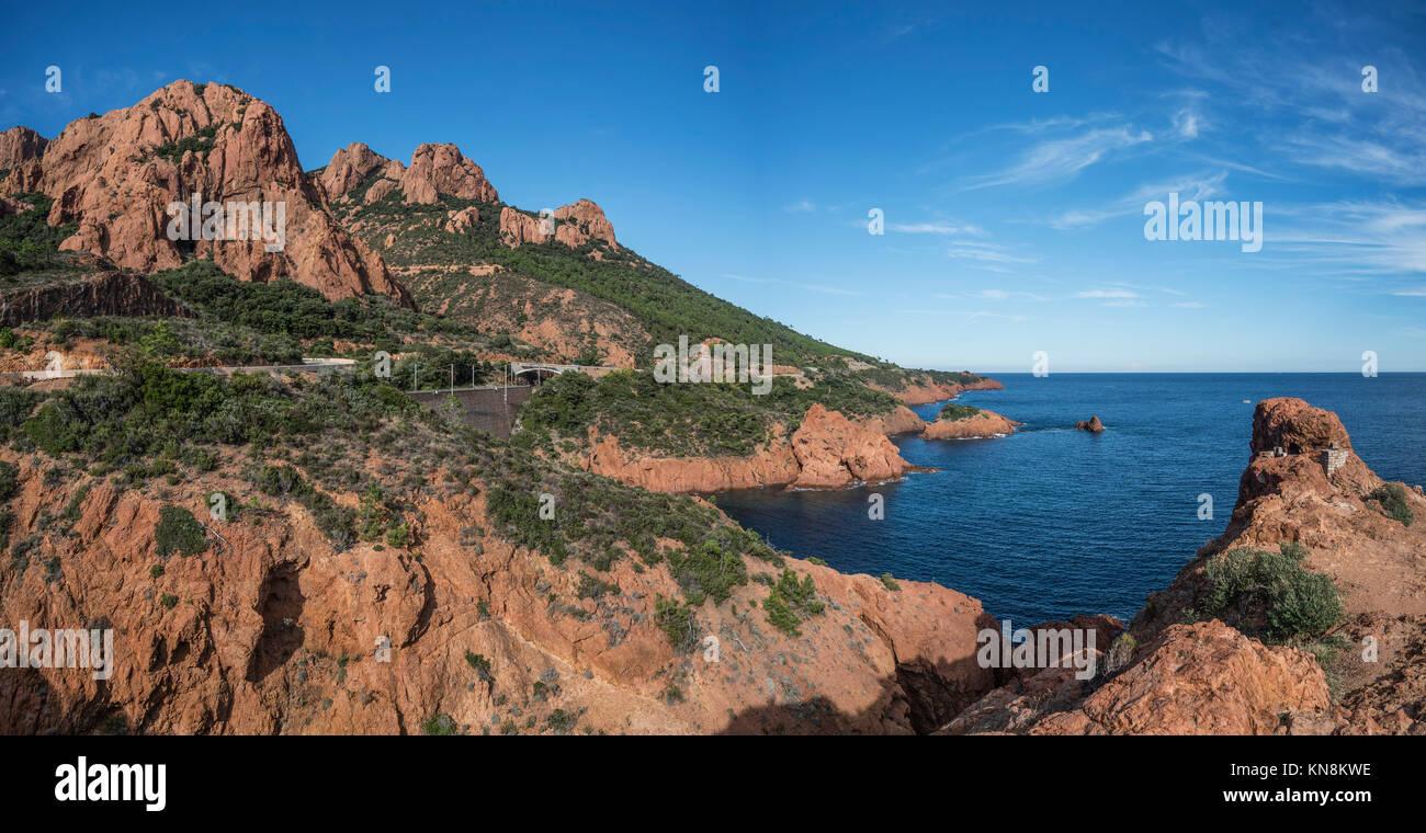Red Rocks, Saint Raphael, Esterel, Coastline, Le Dramont Mountains, Cote d Azur,  France, - Stock Image
