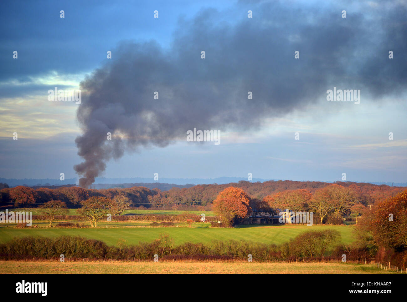 illegal waste burning in the countryside (illustrative) - Stock Image