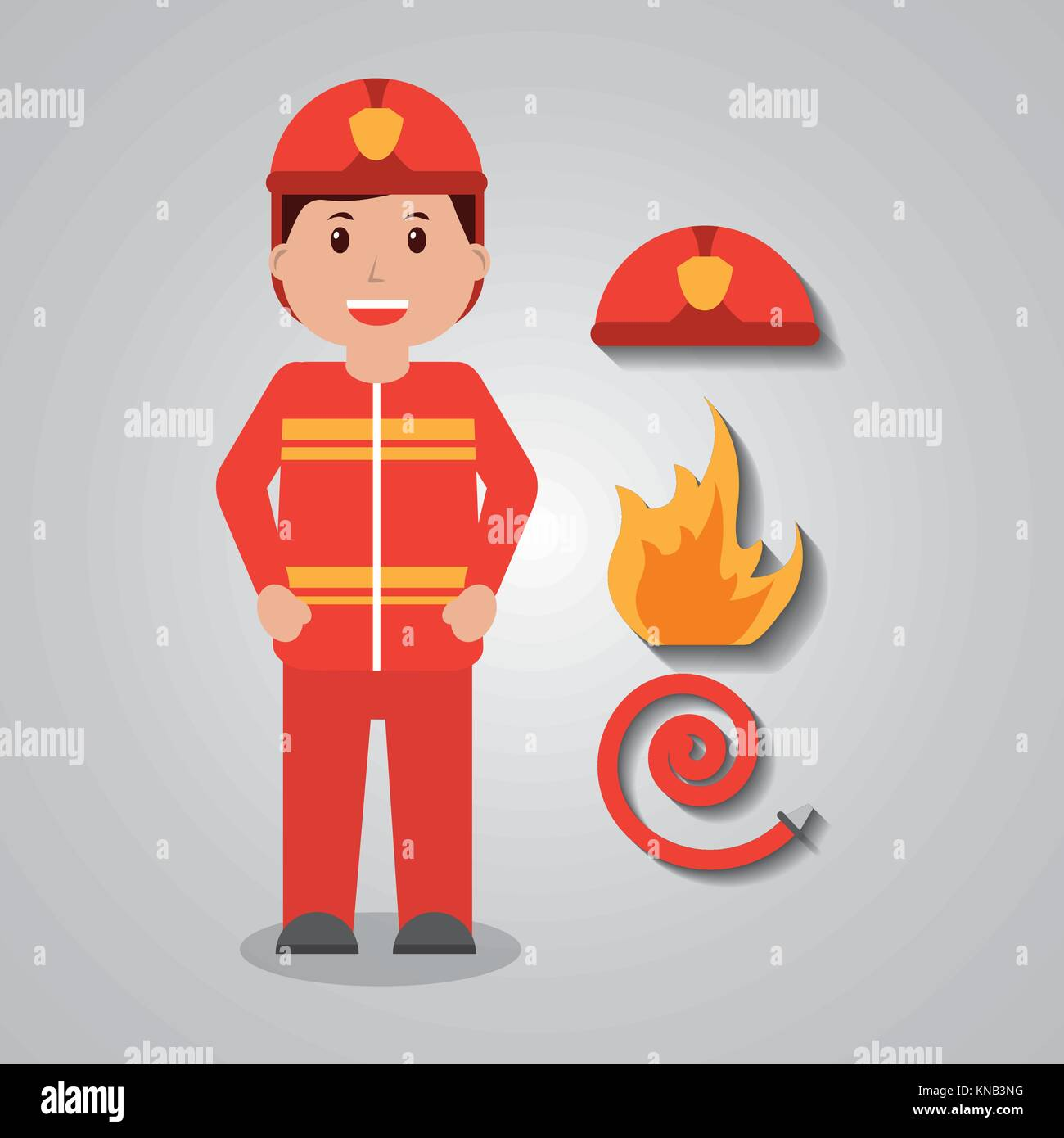 firefighter worker protecting equipment standing character - Stock Image