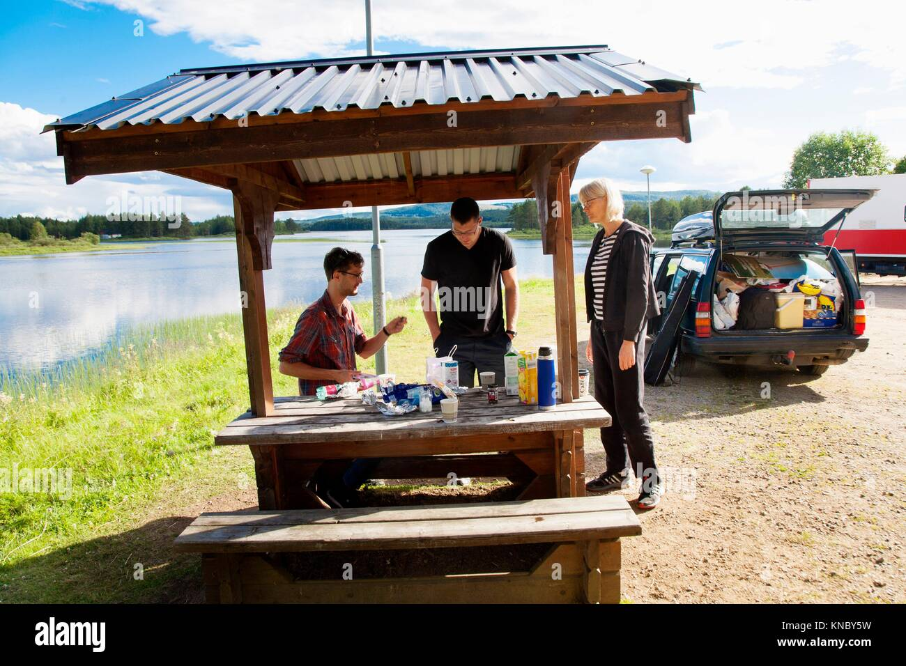 Family roadtrip pause, Sweden. - Stock Image
