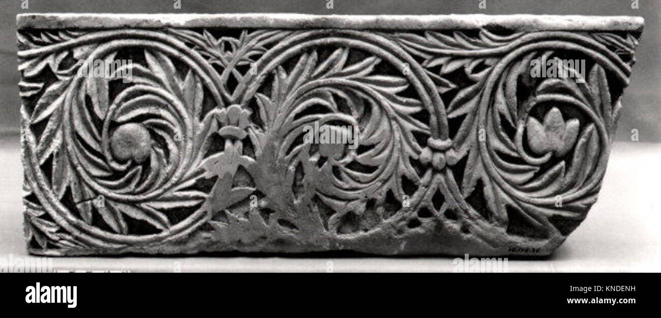 Fragment of Frieze with Acanthus Leaves Encircling Fruit and Flowers MET 8855 453625 - Stock Image