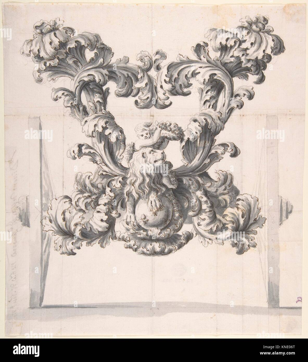 Rear View of an Elaborate Design for a Carriage with Acanthus Leaves and a Putto and Lion on top of a Ball with - Stock Image