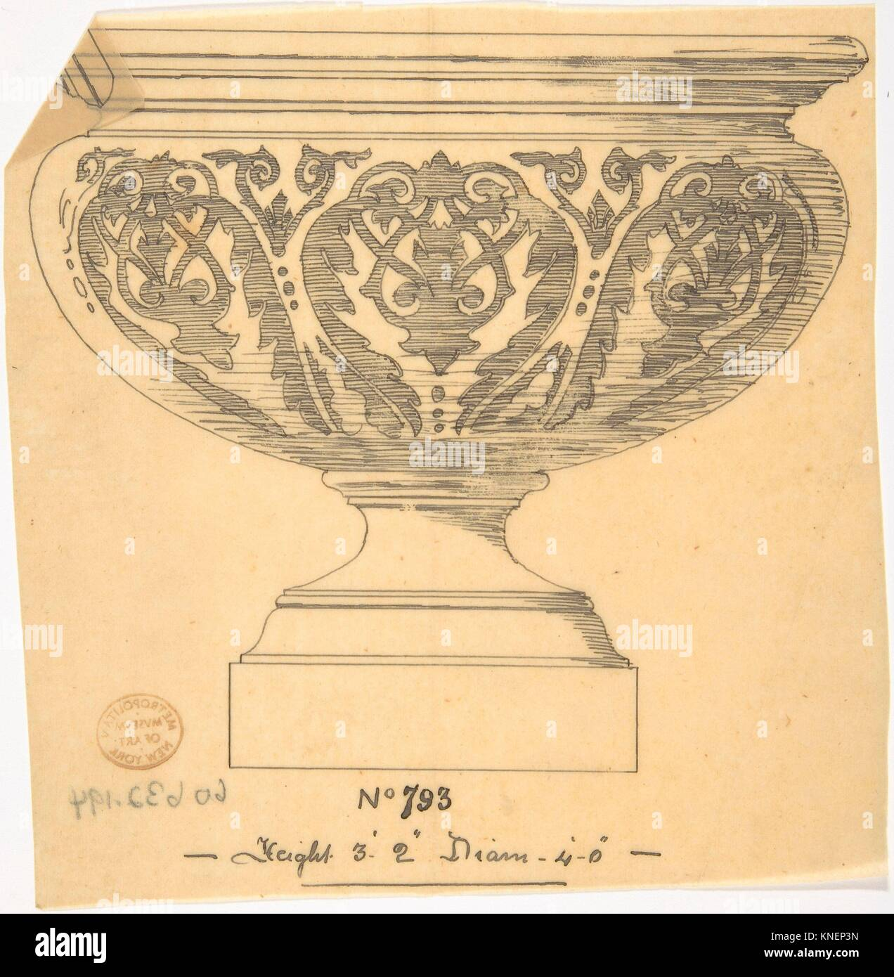 Vase. Artist: Anonymous, British, 19th century; Date: 19th century; Medium: Ink on tracing paper; Classifications: - Stock Image