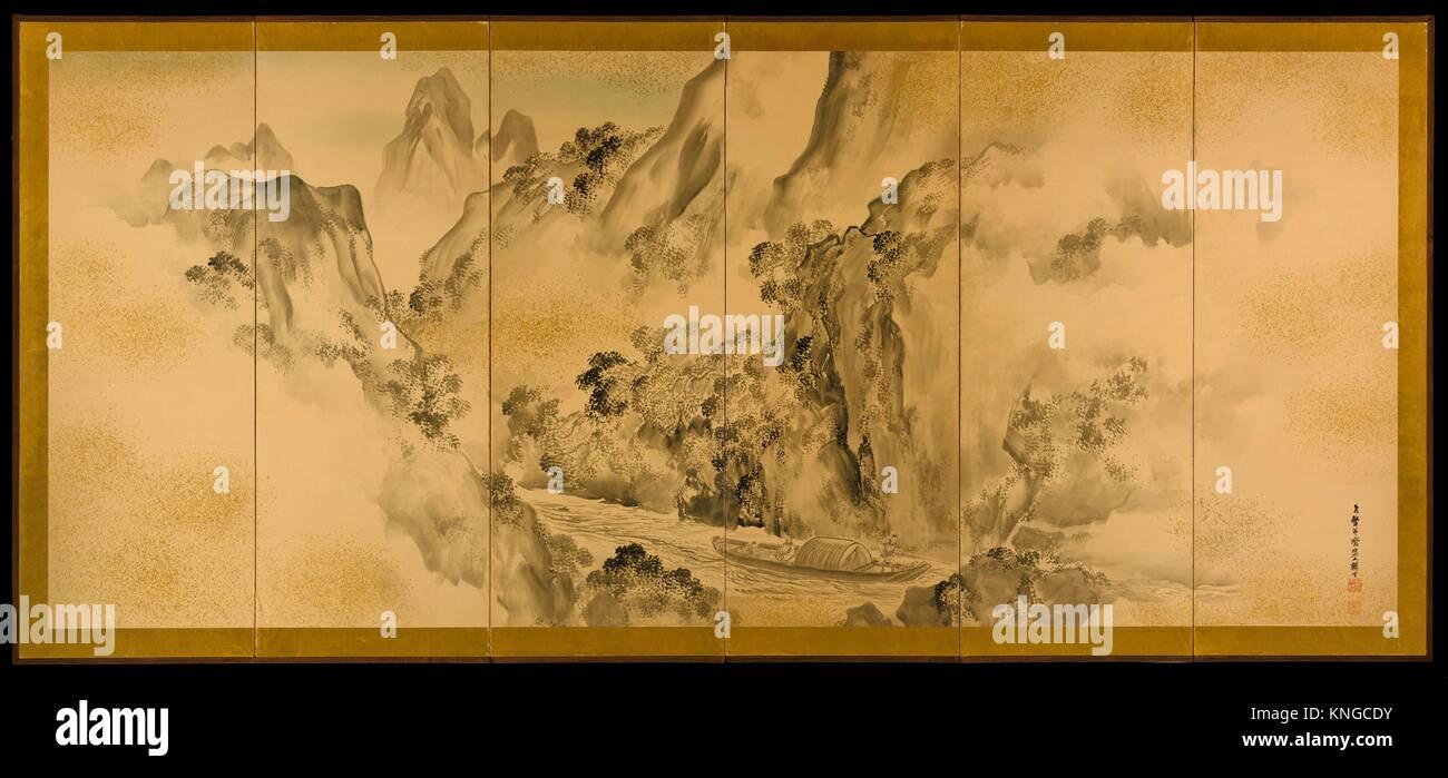 The Poet Li Bo's Visit to Mount Emei - Shiokawa Bunrin (Japanese, 1808–1877) - Stock Image