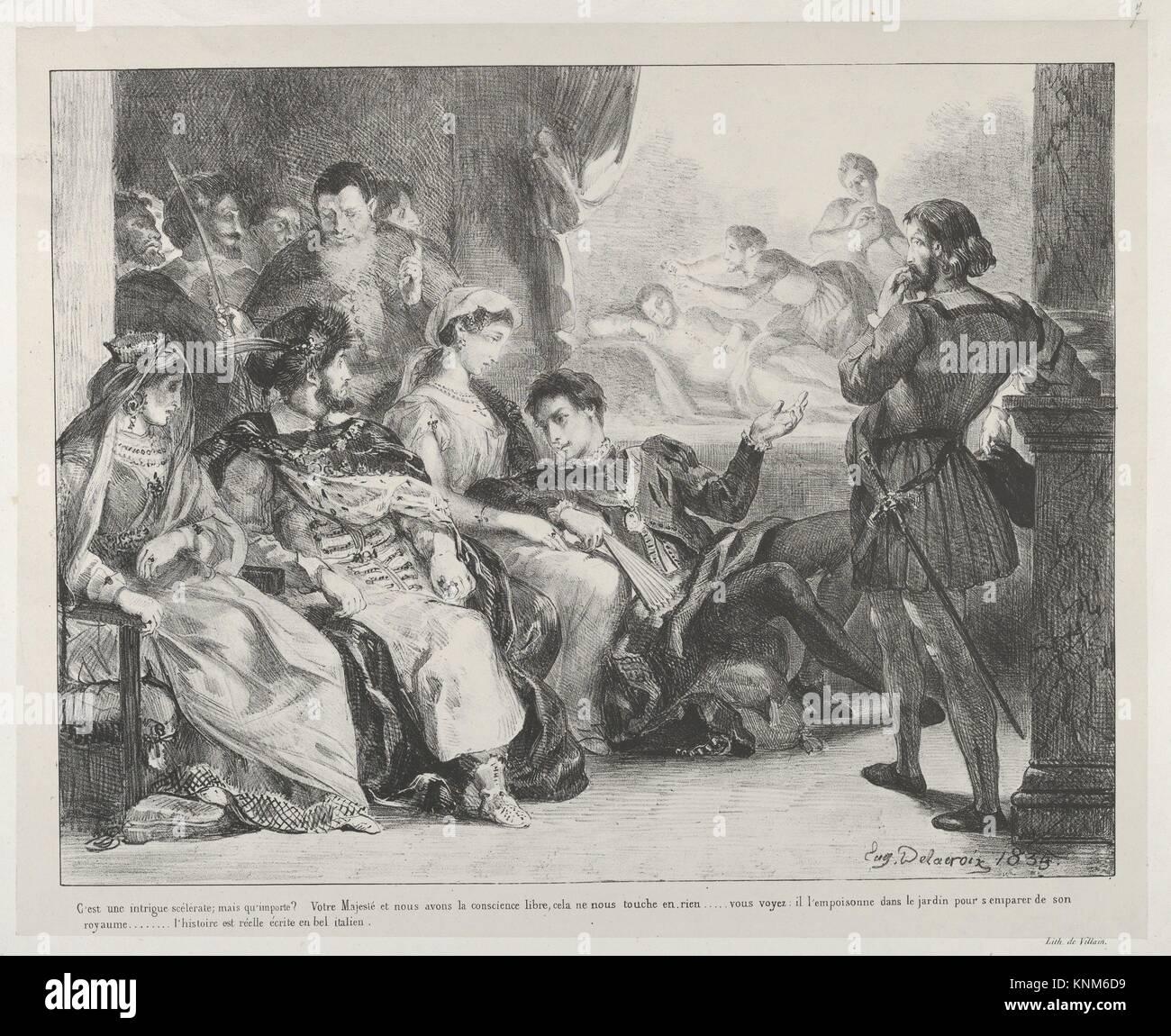 The Play-Within-A-Play. Series/Portfolio: Hamlet, Treize Sujets Dessinés par Eug. Delacroix [Hamlet, Thirteen - Stock Image