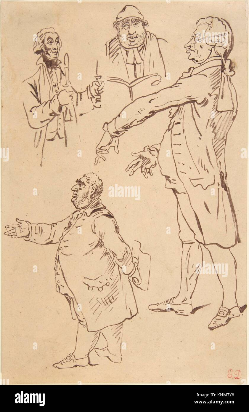 Studies of Four Englishmen, after James Gillray. Artist: Eugène Delacroix (French, Charenton-Saint-Maurice - Stock Image