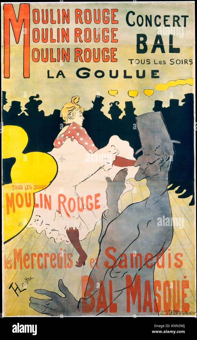 Moulin Rouge: La Goulue. Artist: Henri de Toulouse-Lautrec (French, Albi 1864-1901 Saint-André-du-Bois); Printer:Stock Photo