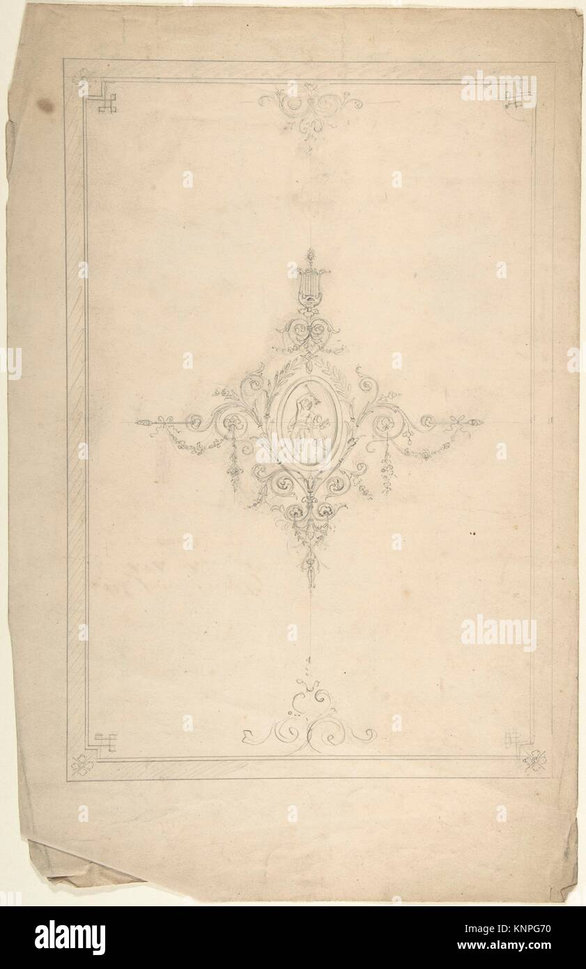 Ceiling Design. Artist: Anonymous, British, 19th century; Date: 19th century; Medium: Graphite; Classifications: - Stock Image