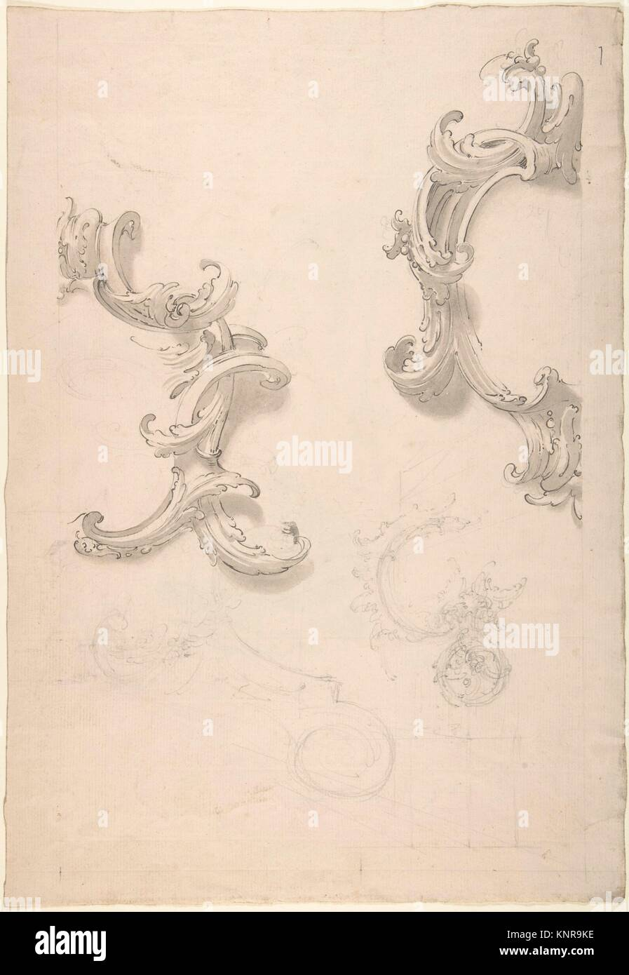 Ornamental Design with Acanthus Leaves (recto), Capital (verso). Artist: Anonymous, Italian, 18th century; Date: - Stock Image