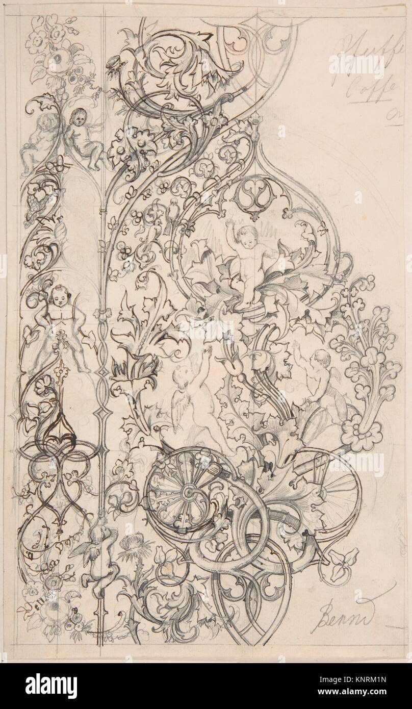 Gothic Ornament with Putti and Acanthus Leaves. Artist: Attributed to Bernd (German (?)) ?; Date: 19th century; - Stock Image