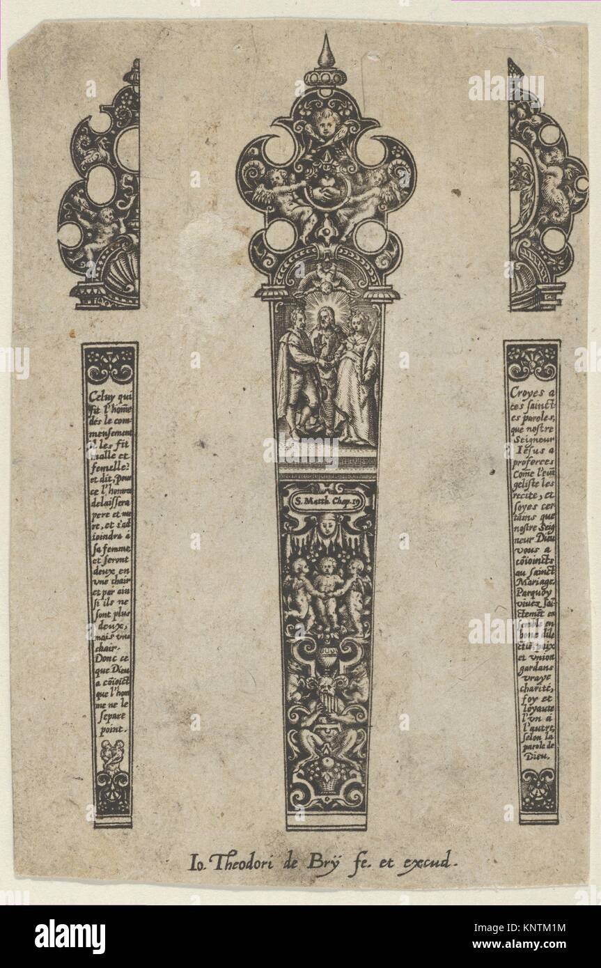 Design for a Knife Handle with a Scene of Christ Joining a Man and Woman. Artist: Johann Theodor de Bry (Netherlandish, - Stock Image