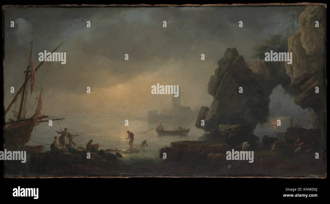 Harbor Scene with a Grotto and Fishermen Hauling in Nets. Artist: Style of Joseph Vernet (French, late 18th century); - Stock Image