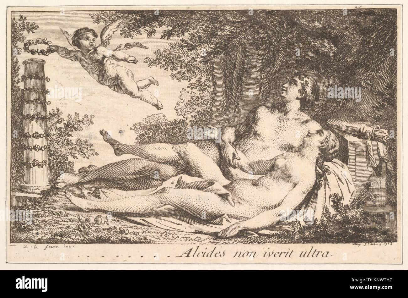 Vignette en regard du nom de Aug. de St. Aubin (Vignette next to the name of Augustin de Saint-Aubin), volume 2, - Stock Image