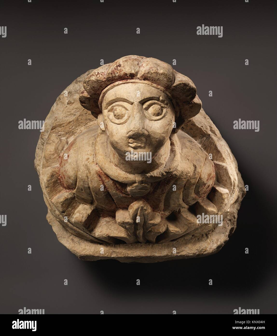 Corbel with Human Bust and Acanthus Leaves. Object Name: Corbel; Date: 5th-6th century; Geography: Made in Egypt; - Stock Image