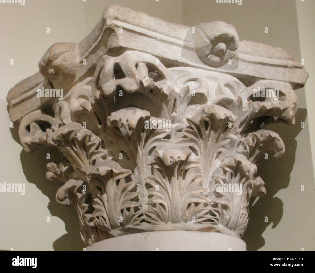 Capital with Acanthus Leaves. Object Name: Capital; Date: 4th century; Geography: Made in Egypt; Medium: Marble; - Stock Image