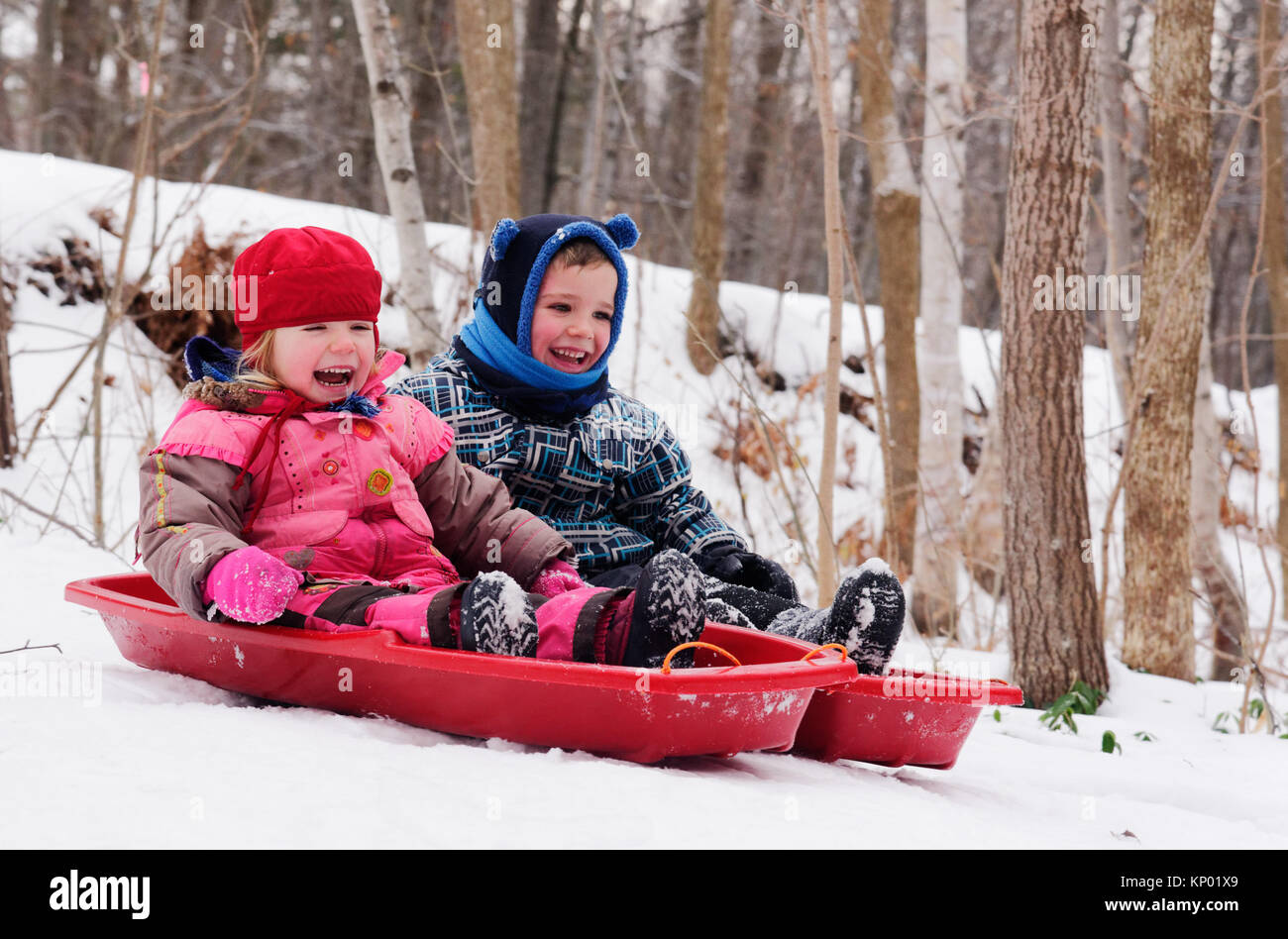 brother-and-sisters-5-and-3-yrs-old-sledging-together-in-quebec-in-KP01X9.jpg