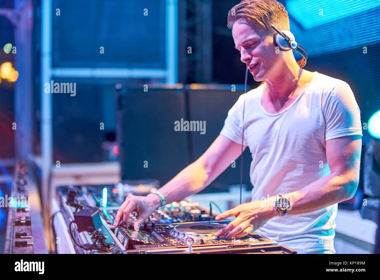 DJ Dannic at music festival Starbeach in Hersonissos, Crete, Greece, on 24. July 2017 - Stock Image