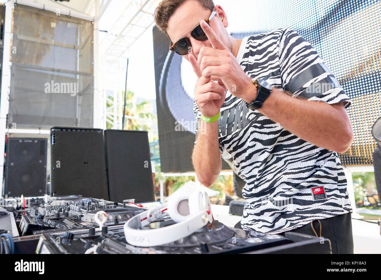 DJ Alpharock at music festival Starbeach in Hersonissos, Crete, Greece, on 24. July 2017 - Stock Image