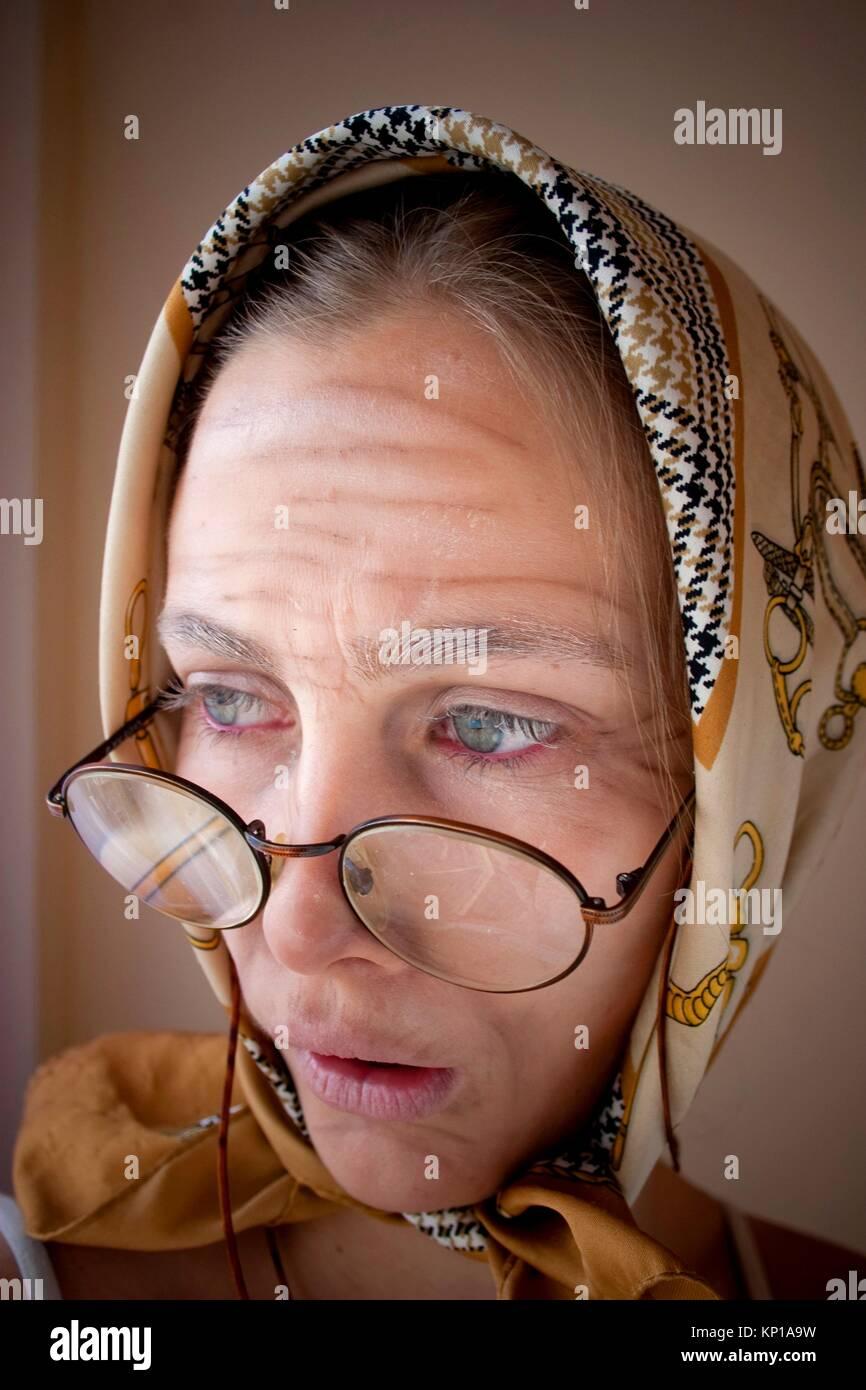 Granny fx, make up lessons - Stock Image