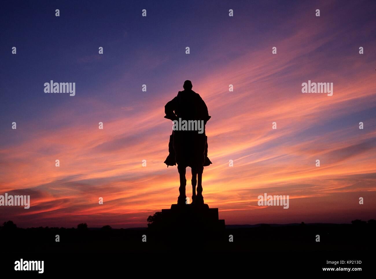 Stonewall Jackson statue sunset, Manassas National Battlefield Park, Virginia. - Stock Image