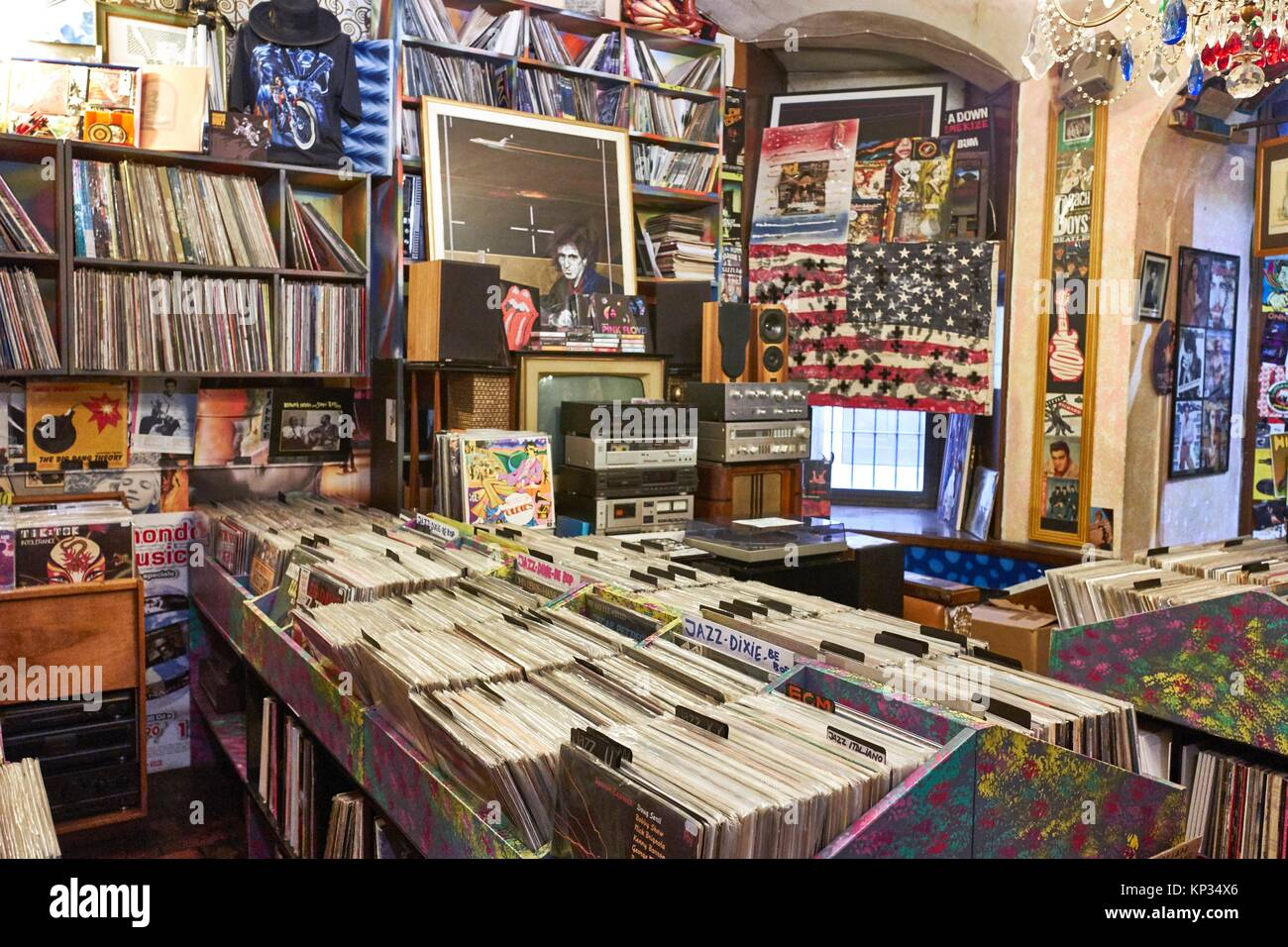 The largest shop of vinyl records in Florence, Italy - Stock Image