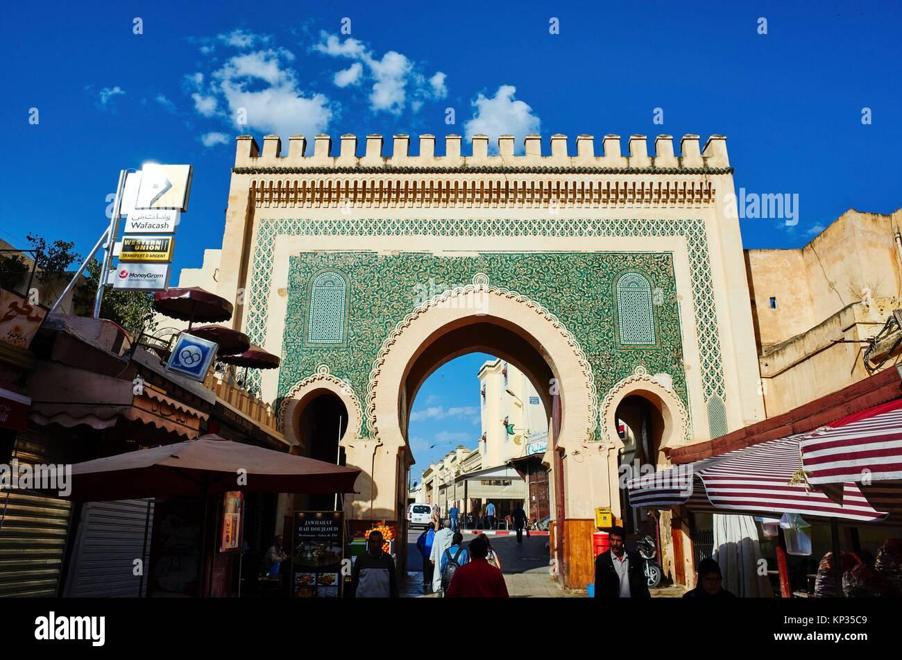 Bab Bou Jeloud the blue gate to medina of Fez, Morocco - Stock Image