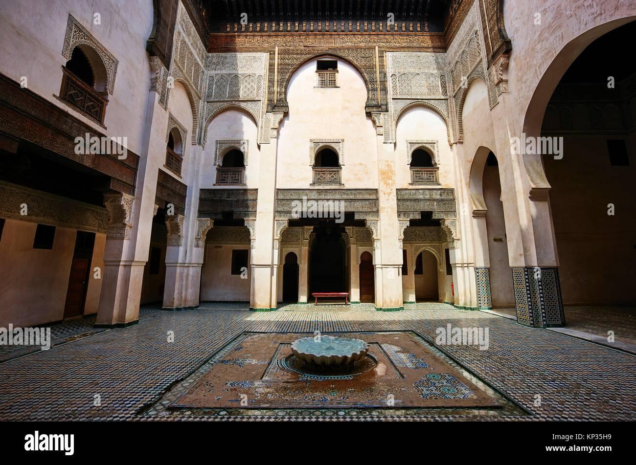 Rascherratine Medersa in the medina of Fez, Morocco - Stock Image