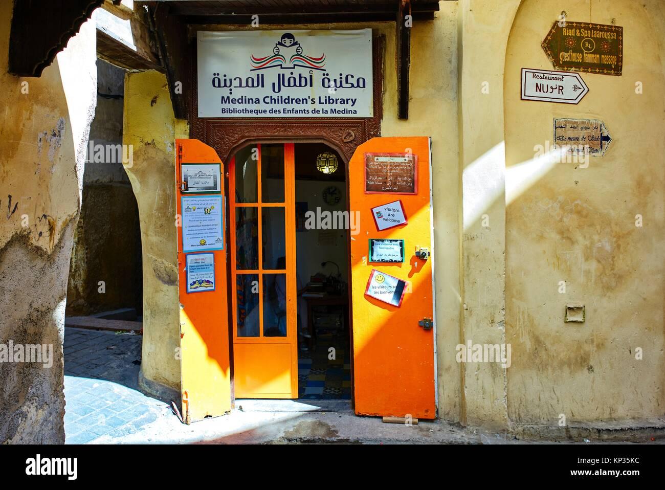 Medina Children´s library in Fez old city, Morocco - Stock Image