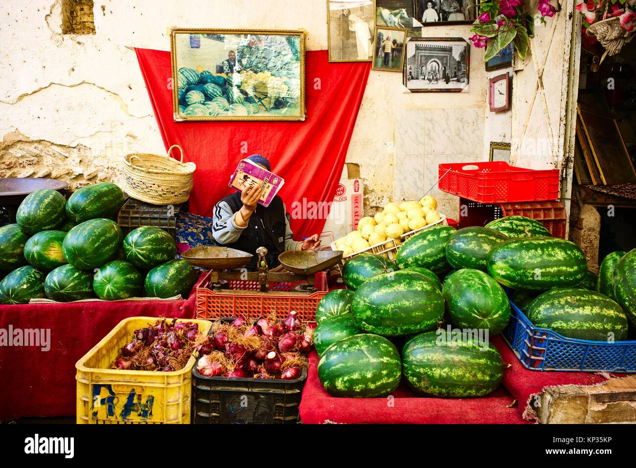 Selling watermelons in the medina of Fez, Morocco - Stock Image