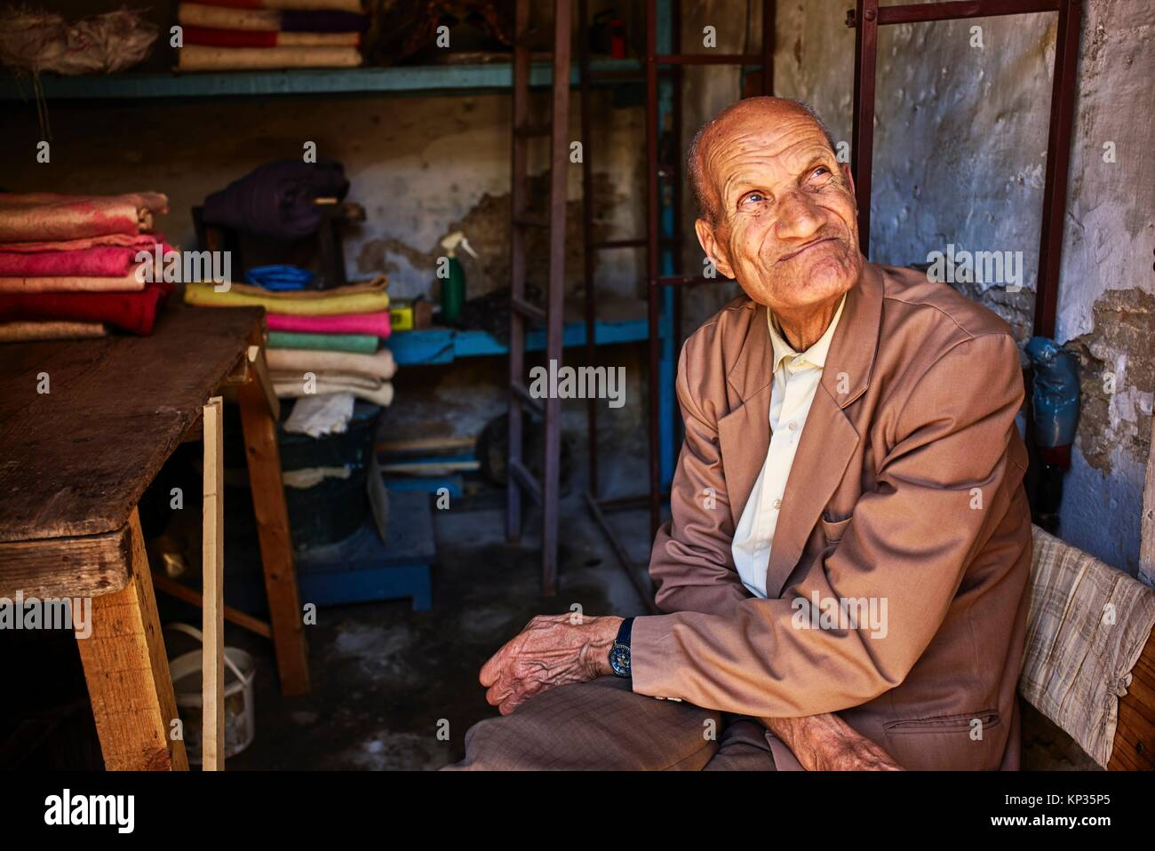 The last artisan to produce saddles for horses in Meknes, Morocco - Stock Image