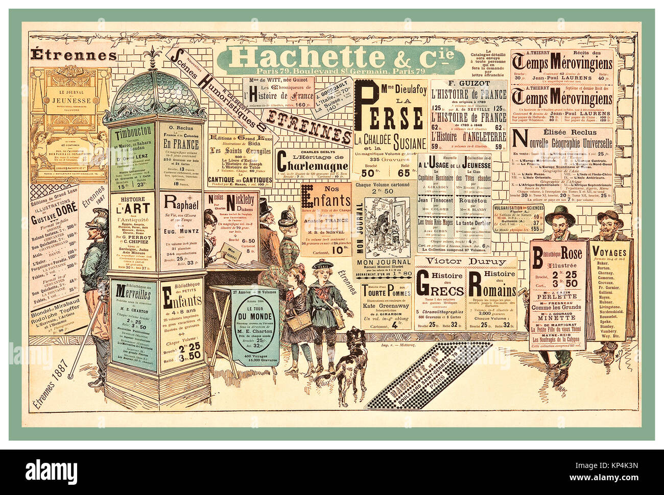 1887 Vintage French advertising Poster suggesting a variety of nice surprises as New Year Gifts from Hachette and - Stock Image