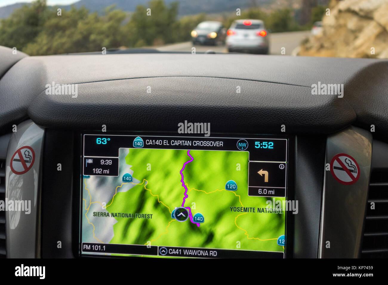 https://c7.alamy.com/comp/KP7459/sat-nav-satnav-gps-car-navigation-integrated-in-dashboard-in-american-KP7459.jpg