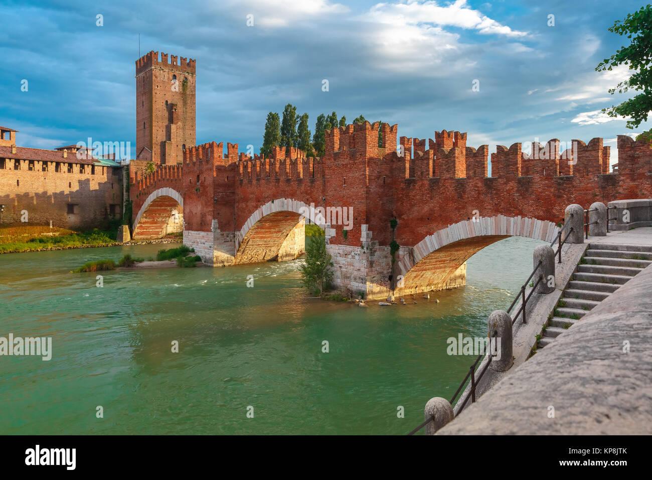 Castelvecchio at sunset in Verona, Italy. Stock Photo