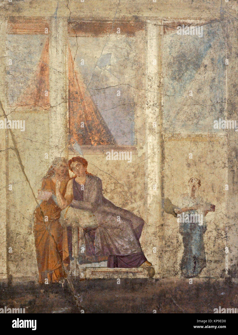 Roman fresco depicting Phaedra, tormented by the unrequited love of his stepson Hippolytus, delivers a letter in - Stock Image