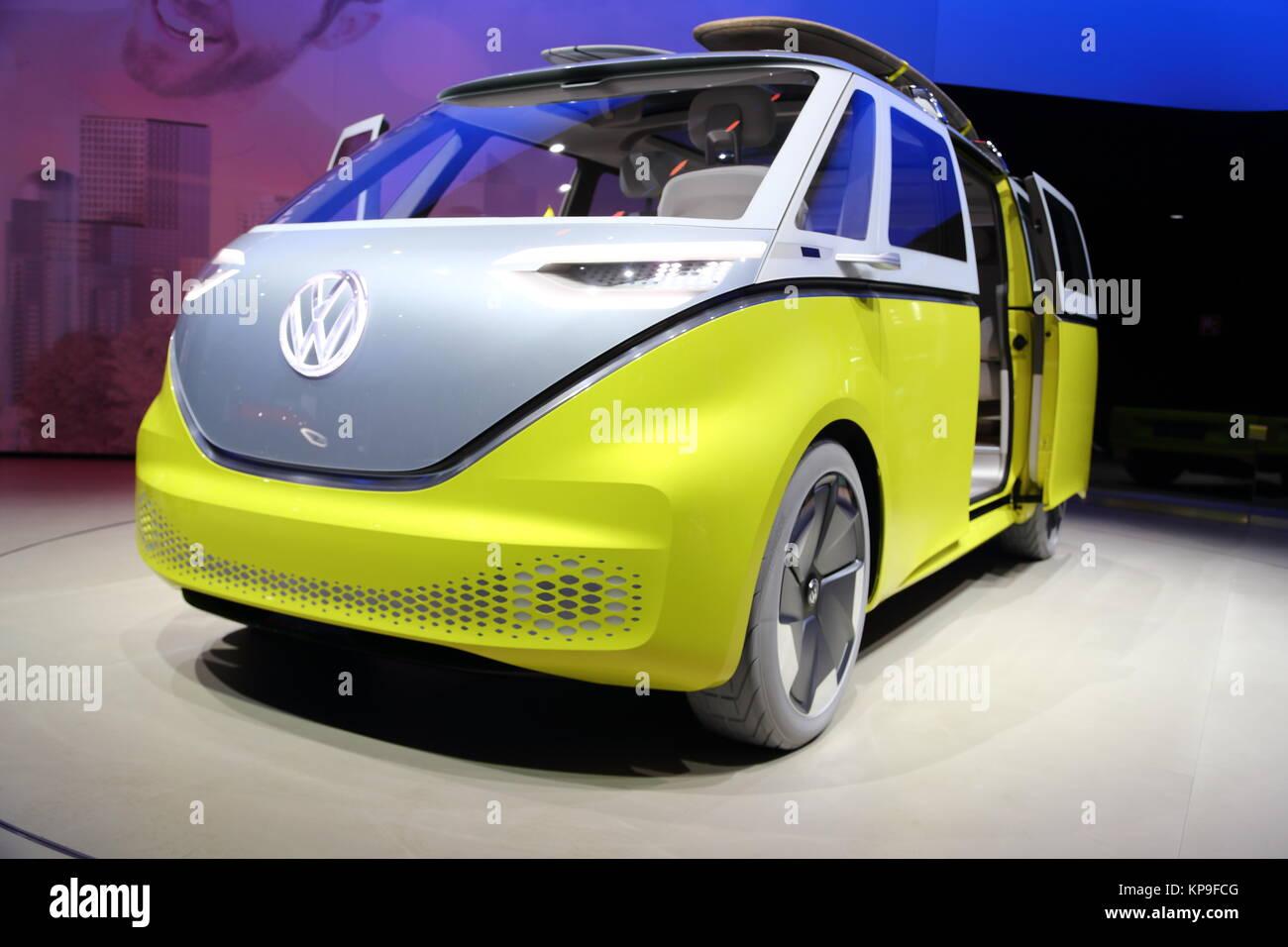 Volkswagen I.D. Buzz electric van at the Frankfurt International Motor Show 2017, Germany - Stock Image