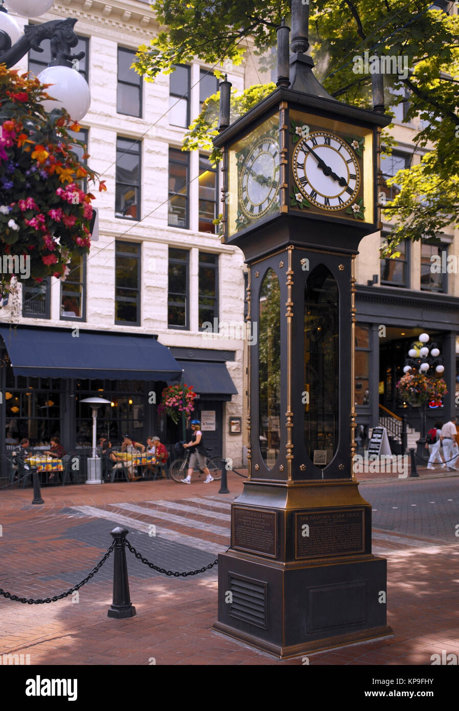 The Steam Clock in Vancouver in British Columbia, Canada. Built in 1977 and located at the corner of Cambie Street - Stock Image