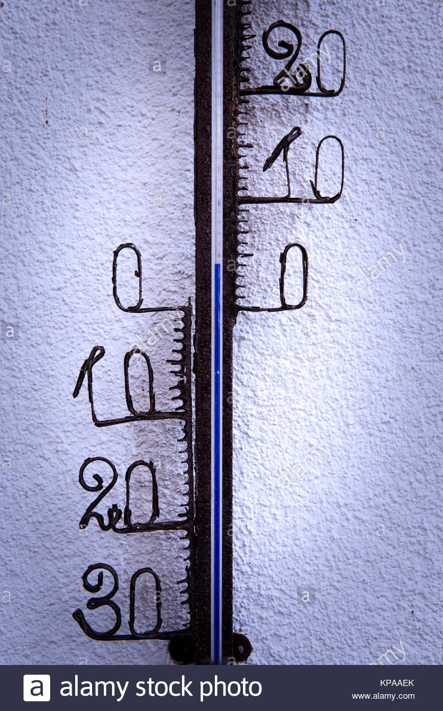 closeup of thermostat on a wall - Stock Image