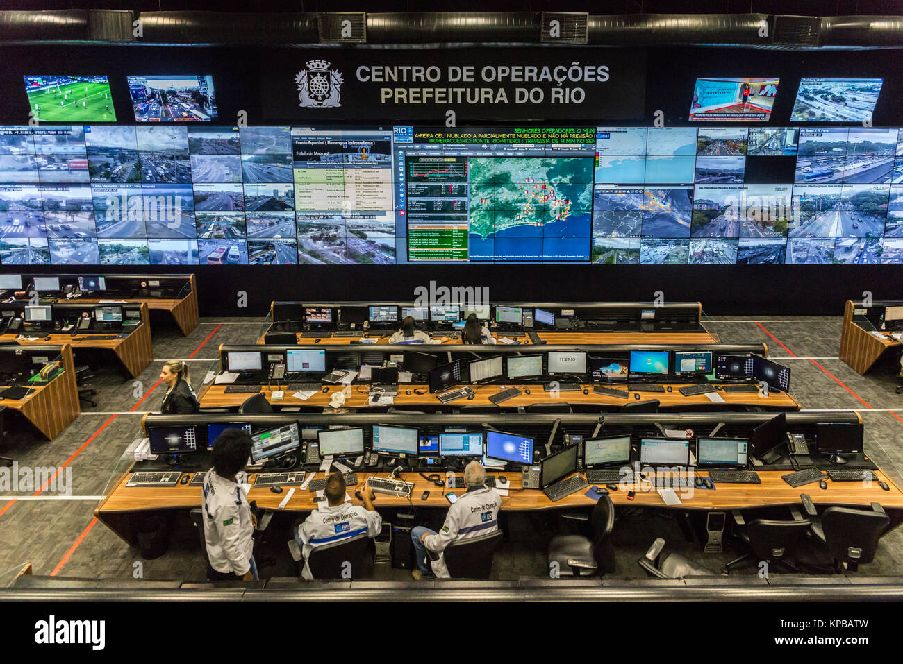 Control room for operations within the city of Rio de Janeiro, gathering diverse data supplied by weather stations,Stock Photo