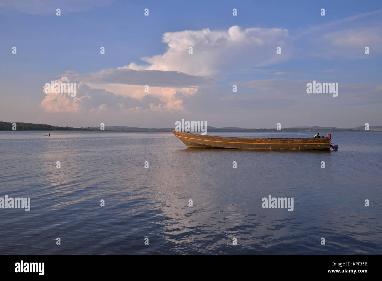 Uganda is called 'The pearl of Africa' because of its beautiful landscapes, friendly people, and abundance - Stock Image