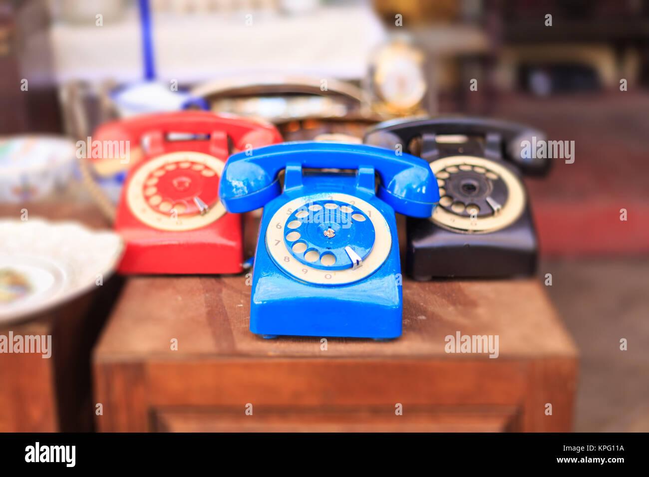 Athens, Greece. Vintage telephones collection at Monastiraki, an open air flea market - Stock Image