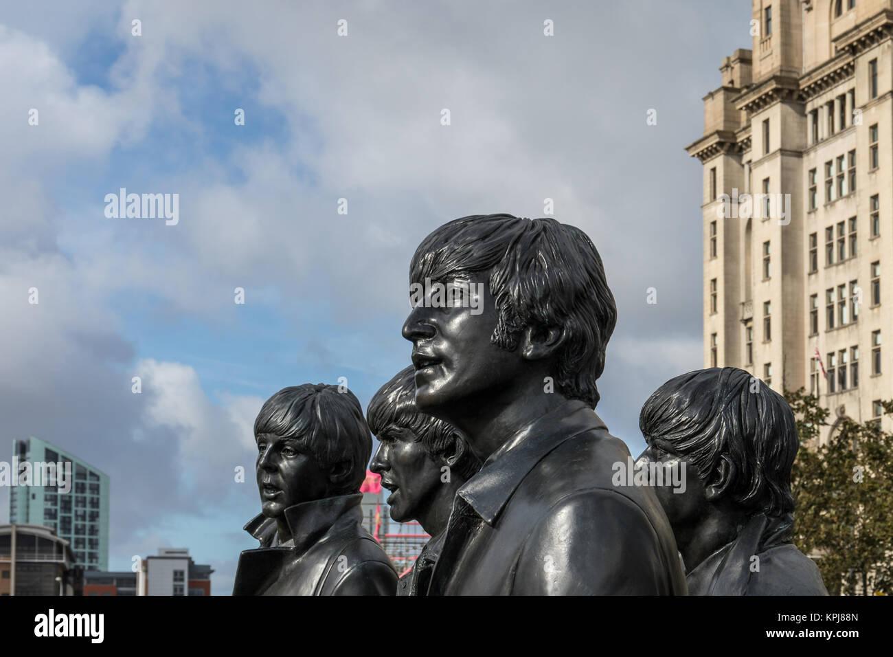 The Beatles statue detail, Pier Head, Liverpool, UK - Stock Image